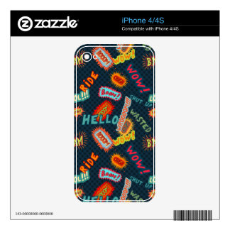 Comic sound effects pattern skin for iPhone 4S