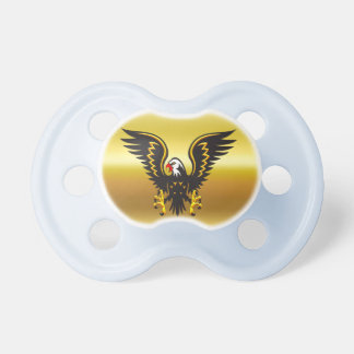 Comic strip Black and Gold eagle with gold foil Pacifier