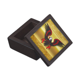 Comic strip Black and red eagle with gold foil Keepsake Box