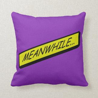 Comic-strip cushion – meanwhile... throw pillow