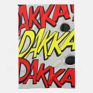 Comic-strip tea towel – dakka, dakka, dakka!