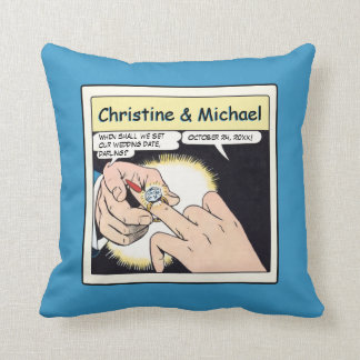 Comic Style Bling Ring Engagement Blue Pillows