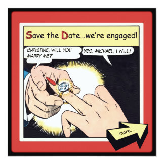 Comic Style Bling Ring Save the Date Red Card