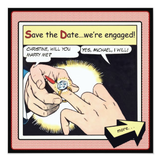 Comic Style Bling Ring Save the Date Red Custom Announcements