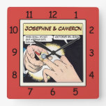 Comic Style Bling Ring Wedding Clock Red