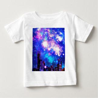 Comic Style City Skyline & Milky Way Night Sky Baby T-Shirt