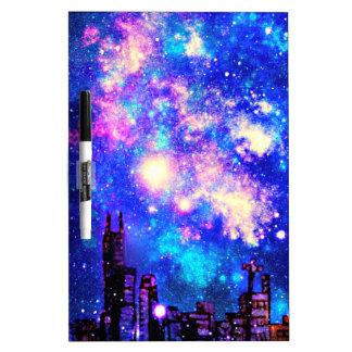 Comic Style City Skyline & Milky Way Night Sky Dry-Erase Board