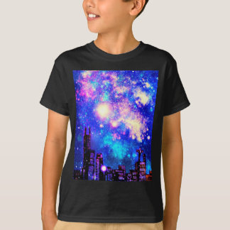 Comic Style City Skyline & Milky Way Night Sky T-Shirt