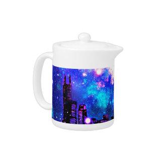 Comic Style City Skyline & Milky Way Night Sky
