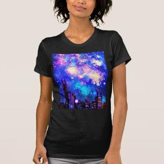 Comic Style City Skyline & Milky Way Night Sky Tee Shirt