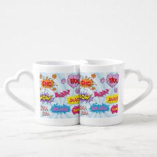 Comic Style Girly Super Hero Design Coffee Mug Set