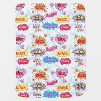 Comic Style Girly Super Hero Design Stroller Blankets