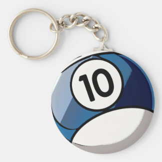 Comic Style Number 10 Billiards Ball Basic Round Button Keychain