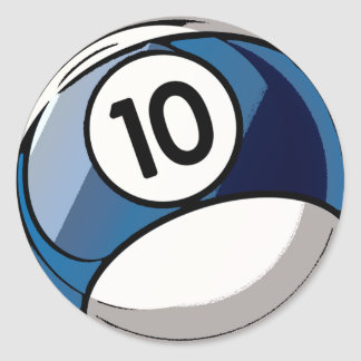 Comic Style Number 10 Billiards Ball Classic Round Sticker