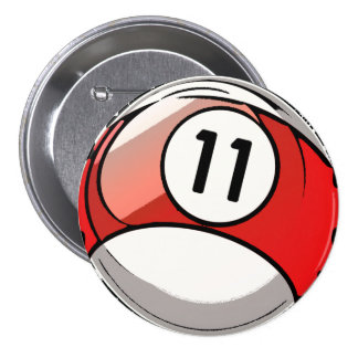 Comic Style Number 11 Billiards Ball Button