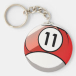 Comic Style Number 11 Billiards Ball Keychains