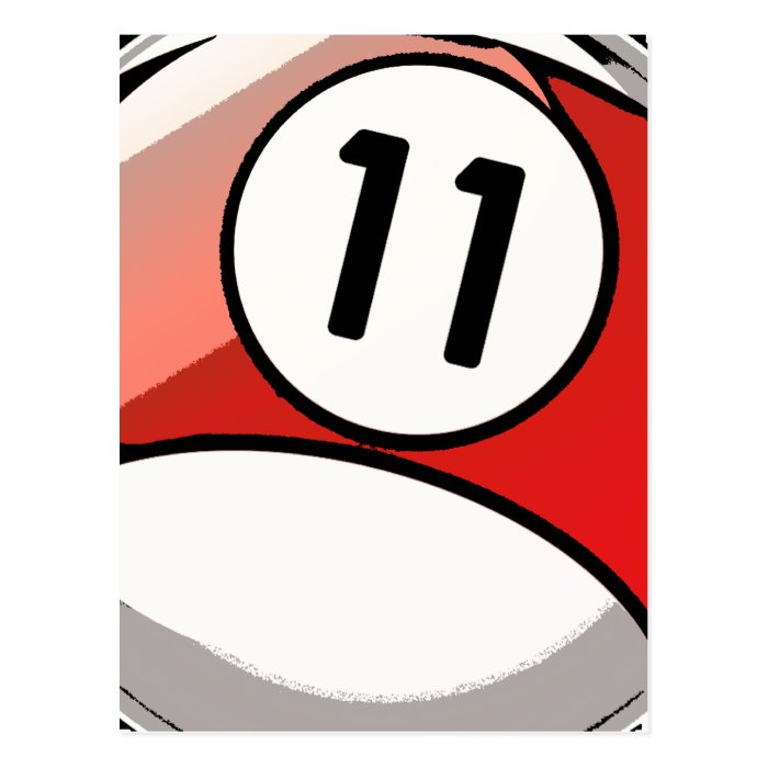 Comic Style Number 11 Billiards Ball Postcard
