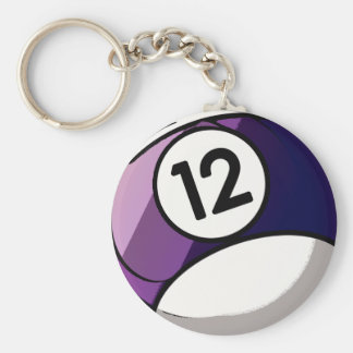 Comic Style Number 12 Billiards Ball Basic Round Button Keychain