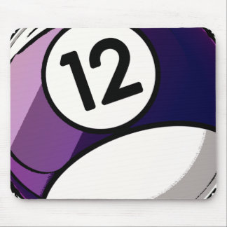 Comic Style Number 12 Billiards Ball Mouse Pad