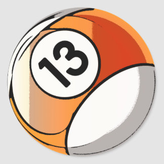 Comic Style Number 13 Billards Ball Classic Round Sticker