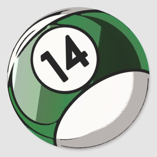 Comic Style Number 14 Billiards Ball Classic Round Sticker