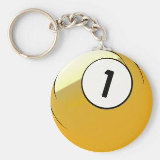 Comic Style Number 1 Billiards Ball Basic Round Button Keychain