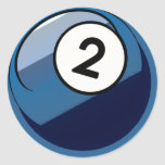 Comic Style Number 2 Billiards Ball Classic Round Sticker