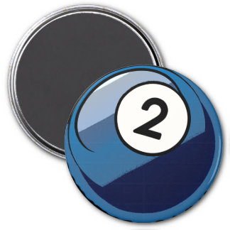 Comic Style Number 2 Billiards Ball Magnet