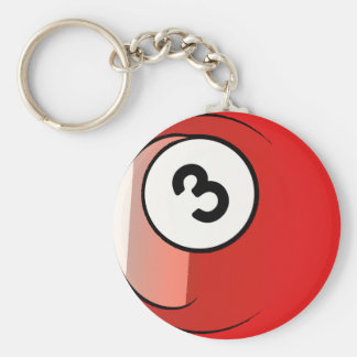 Comic Style Number 3 Billiards Ball Keychain