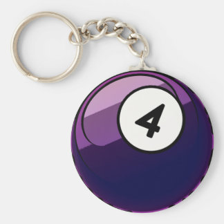 Comic Style Number 4 Billiards Ball Basic Round Button Keychain