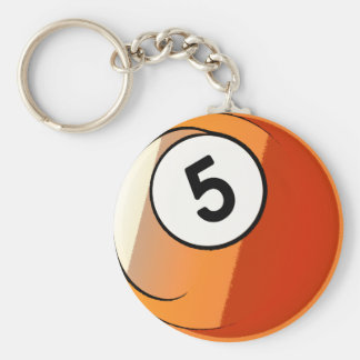 Comic Style Number 5 Billiards Ball Basic Round Button Keychain