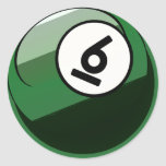 Comic Style Number 6 Billiards Ball Classic Round Sticker