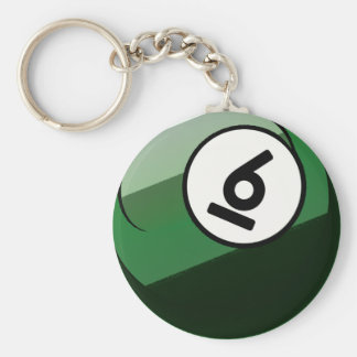 Comic Style Number 6 Billiards Ball Basic Round Button Keychain