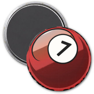 Comic Style Number 7 Billiards Ball Magnet