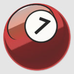 Comic Style Number 7 Billiards Ball Classic Round Sticker