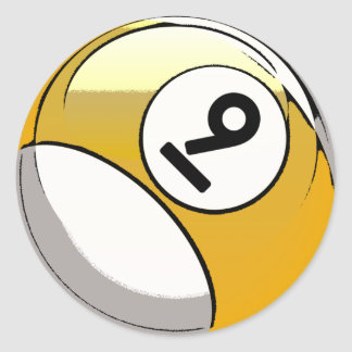 Comic Style Number 9 Billiards Ball Classic Round Sticker