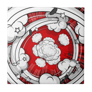 Comic Style Red Fight Clouds Ceramic Tile