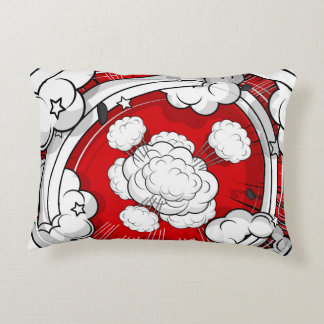 Comic Style Red Fight Clouds Accent Pillow