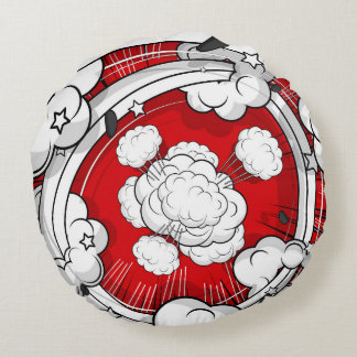 Comic Style Red Fight Clouds Round Pillow