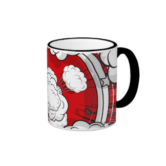 Comic Style Red Fight Clouds Ringer Coffee Mug