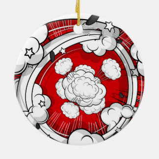 Comic Style Red Fight Clouds Christmas Ornaments