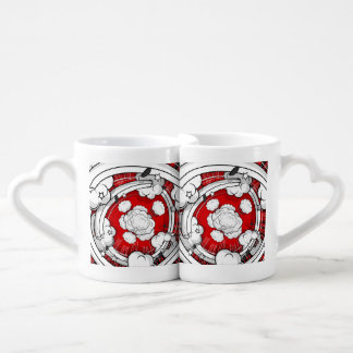 Comic Style Red Fight Clouds Couples' Coffee Mug Set
