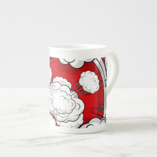 Comic Style Red Fight Clouds Tea Cup