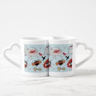 Comic Style Super Hero Design Coffee Mug Set