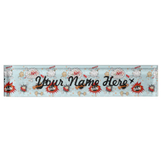 Comic Style Super Hero Design Desk Name Plate