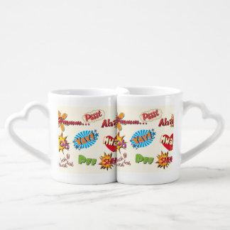 Comic Style Super Hero Girly Design Couples Coffee Mug