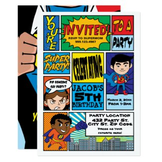 Comic Style Superhero Birthday Invitations