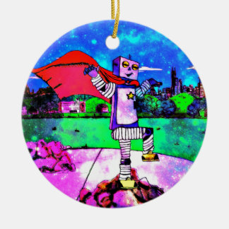 Comic Style Superhero Robot from Outer Space! Ceramic Ornament