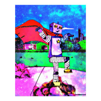 Comic Style Superhero Robot from Outer Space! Letterhead