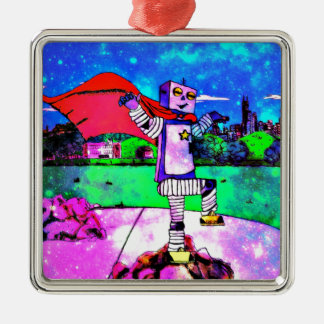 Comic Style Superhero Robot from Outer Space! Metal Ornament